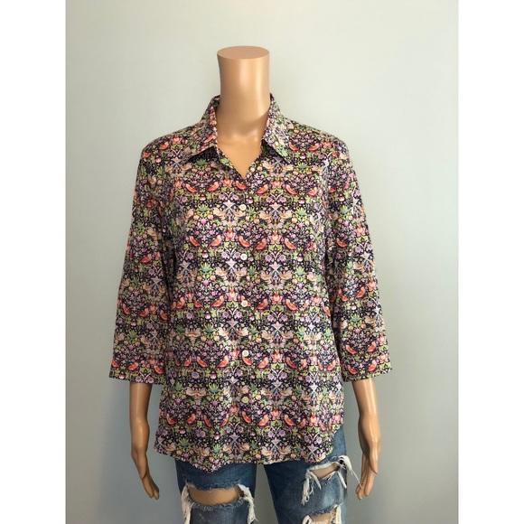 2c5b40dd93311 SAKS Liberty of London floral bird print shirt